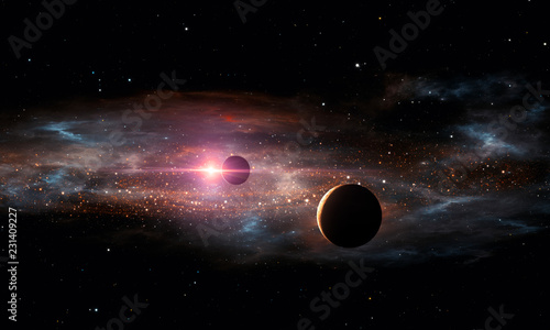 Photo Extrasolar planets. Outer space