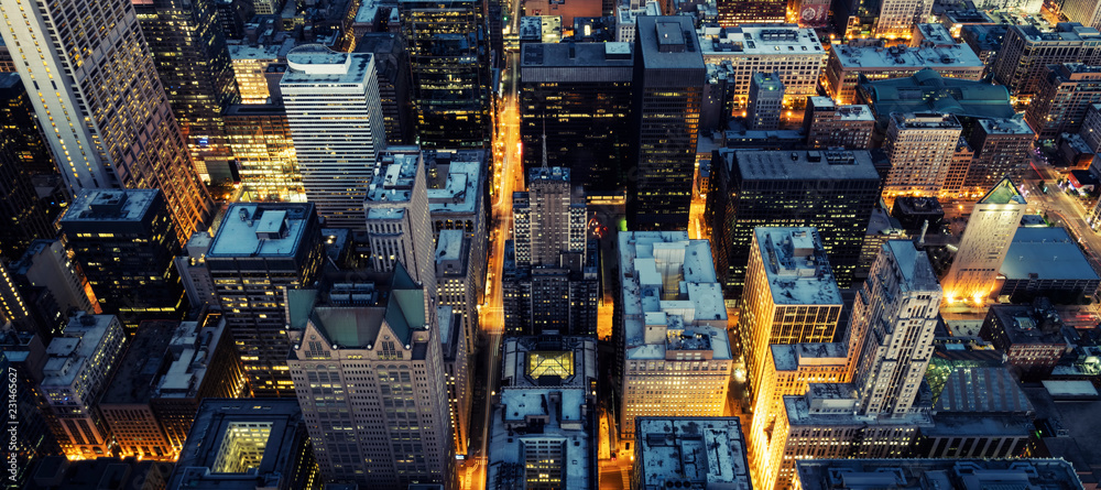 Aerial view of Chicago by night