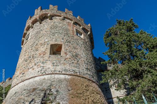 Obraz na plátně The circular tower of the Levanto Castle, Liguria, Italy