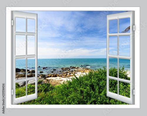 Canvas Print sea view open window