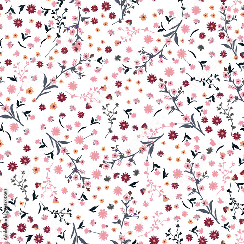 Canvas Print Beautiful wild flowers bright pattern in small-scale pink and red flowers