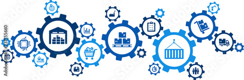 Tableau sur Toile logistics concept: transport, handling, distribution, warehousing, vector illust