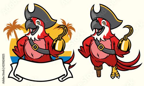 Fototapeta premium macaw bird pirate cartoon