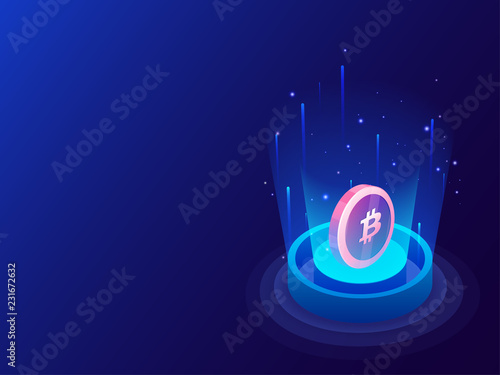 Vászonkép 3D illustration of bitcoin between emerging digital rays on glossy blue background for crypto mining concept based isometric design