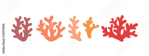 Fotografía Coral logo. Isolated coral on white background. Set