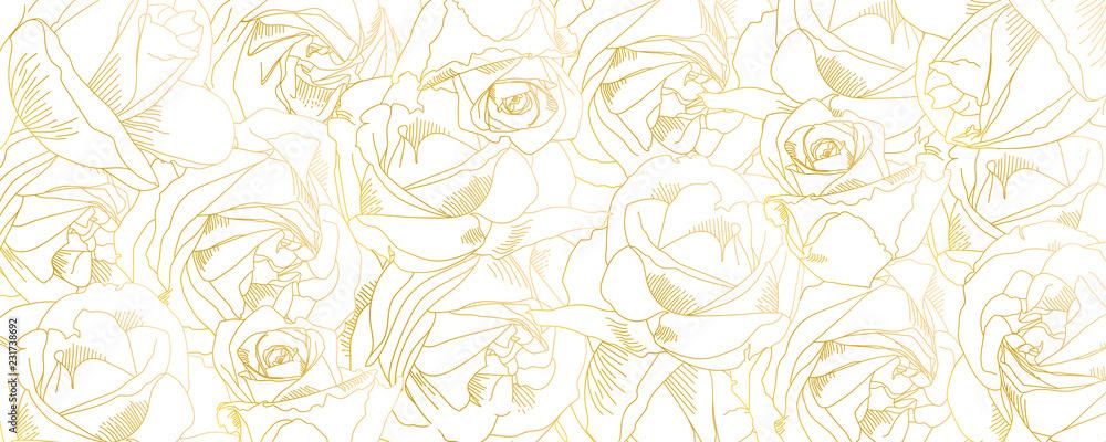 Zarys pąków róż. Wektor wzór z konturami kwiatów w złotych kolorach. Sztuka abstrakcyjna, ręcznie rysowane romantyczne tło. Ilustracja wektorowa, eps10. Szablon na plakat, baner, okładkę, ulotki. <span>plik: #231738692   autor: eriksvoboda</span>