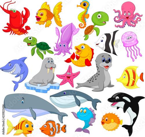 Fototapeta premium Zestaw kolekcja kreskówka życie morskie