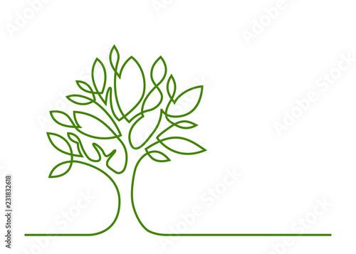 tree green one line