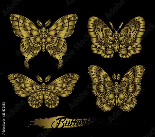 Fotografia Stylised golden butterflies on black background