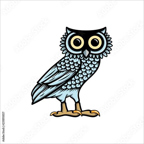 Photo Owl illustration logo vector, owl of athena vector