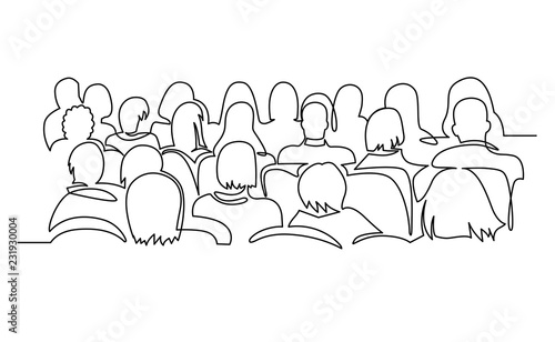 Cuadros en Lienzo Continuous Line Drawing of Vector illustration character of audience in the conference hall background with blank space for your text and design