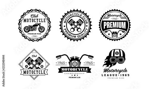 Canvas Print Motorcycle club logo set, retro badges for biker club, auto parts store, repair