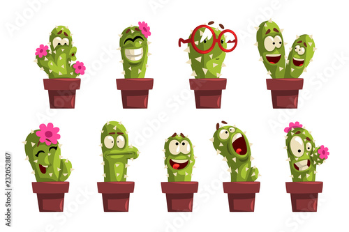 Carta da parati Potted cactus characters sett, funny cacti in flower pot with different emotions