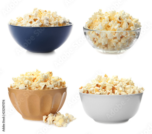 Set with bowls of tasty popcorn on white background