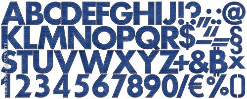 Photo huge collection set of denim blue indigo jeans letter number special character f