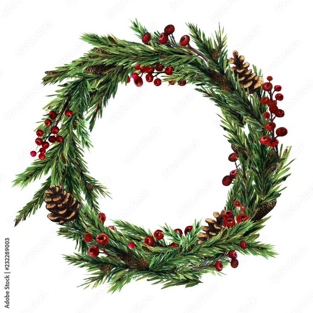Wieniec świąteczny z choinką, gile, czerwone zimowe jagody. Zimowy wieniec malowany akwarelą <span>plik: #232289003   autor: Арина Трапезникова</span>