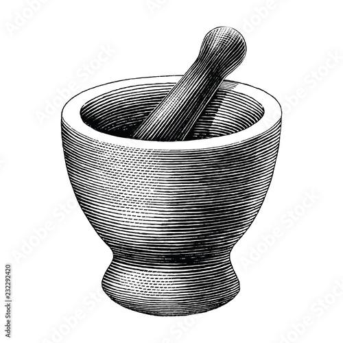 Obraz na płótnie Mortar and pestle vintage engraving illustration isolated on white background,Lo