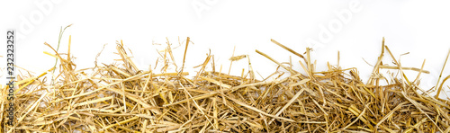 Fotografie, Tablou a bunch of straw as border, isolated with white background