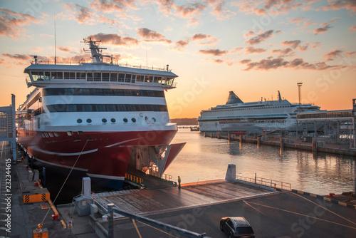 Canvas Print passenger ferry in the port of Tallinn.