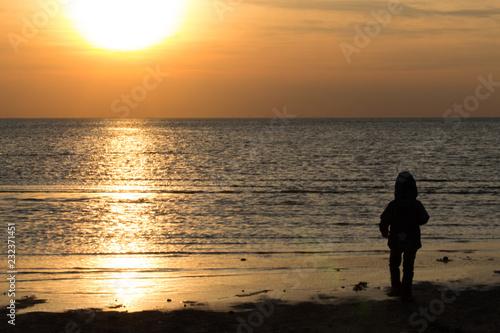 Fotografie, Obraz Sunset over the north sea, Northern Jutland, Denmark