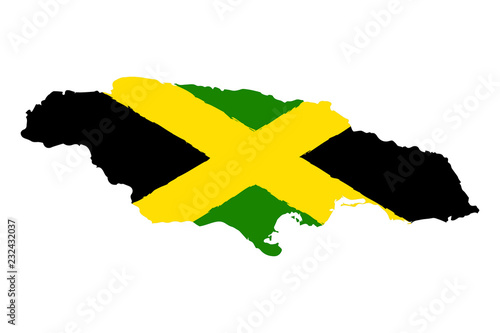 Canvas Print Map of Jamaica with Flag