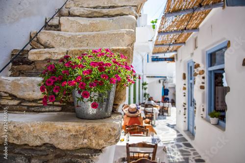 Canvas Print Traditional street on Naxos, Greece