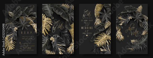 Fotografía Tropical leaves black and gold wedding cards