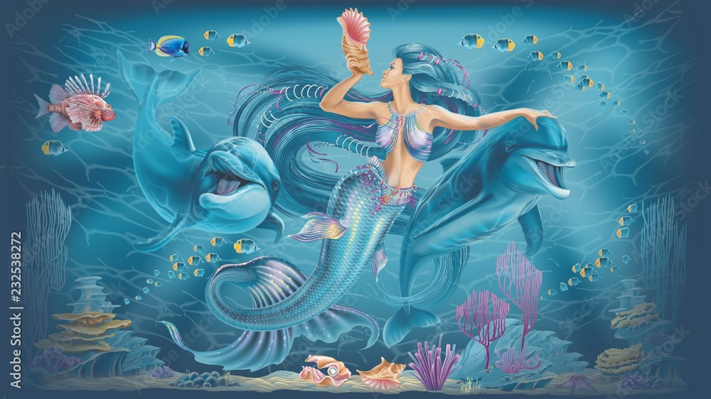 mermaid and dolphins illustration