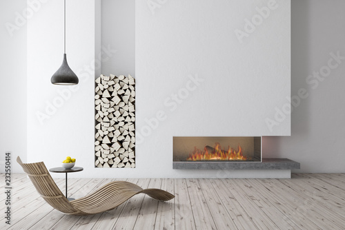 White fireplace with wooden armchair