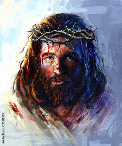 Fotografia Jesus in the crown of thorns, painting