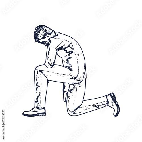 Fototapeta Illustration of silhouette of businessman stand to kneel.