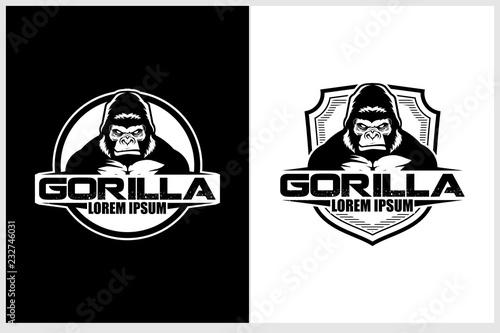 Fotografia black and white gorilla or silverback cartoon character vector badge logo templa