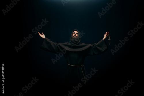 Obraz na plátně Medieval monk praying to the holy god, religion