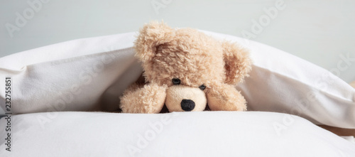 Kids bedtime. Cute teddy playing with pillows in bed, banner