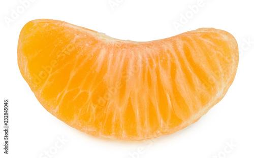 Tangerine slice isolated on white background