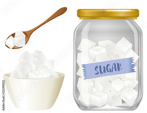 Obraz na plátně Cube sugar on white background