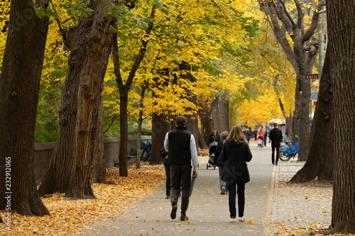 New York City autumn foliage people walking street Fotobehang