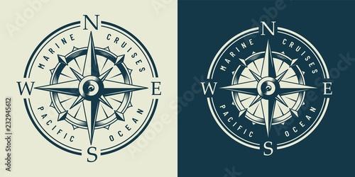 Fototapeta Vintage monochrome marine label