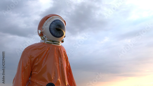 Foto human eye in a protective suit