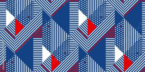 Fototapeta Blue and white stripes geometric seamless pattern.