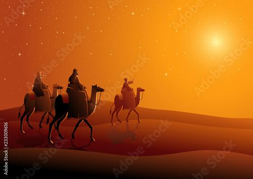 Three wise men, journey to Bethlehem Fototapeta