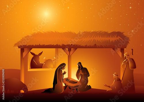 Nativity Scene of The Holy Family In Stable Fototapete