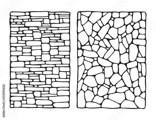 Canvas Print facing stone decorative wall vector sketch isolated