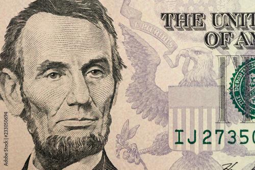 Obraz na płótnie Abraham Lincoln on the $5 Banknote