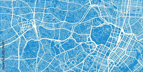Fototapeta Urban vector city map of Tokyo centre, Japan