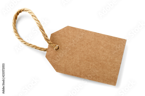 cardboard label with slim rope cord,isolated