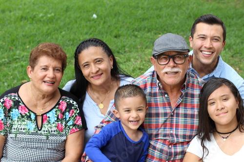 Joyful real ethnic family portrait