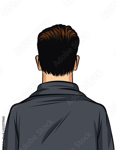 Stampa su Tela Vector color illustration of a man rear view isolated on white background