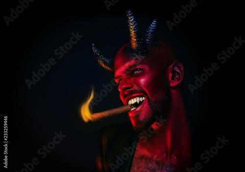 Canvas demon smoking cigar