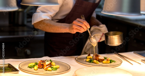 Photo Chef preparing a plate made of meat and vegetables